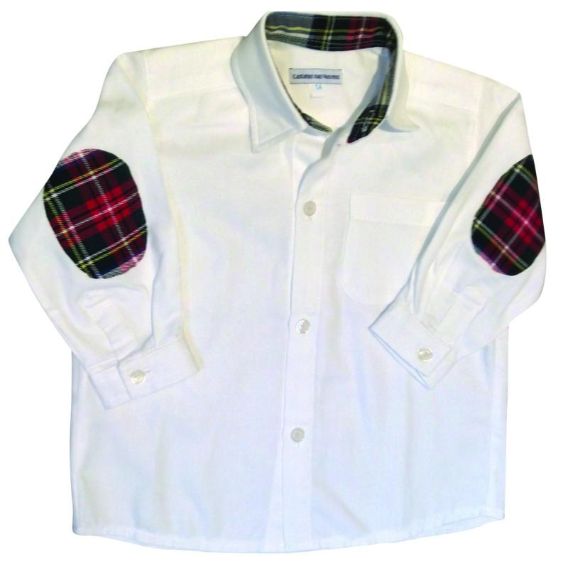 Smart White Shirt with a Tartan Hint