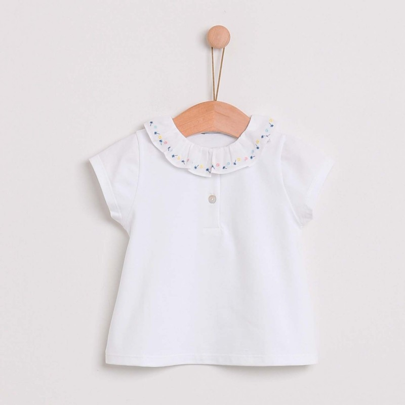 Polo Top with Embroidered Collar