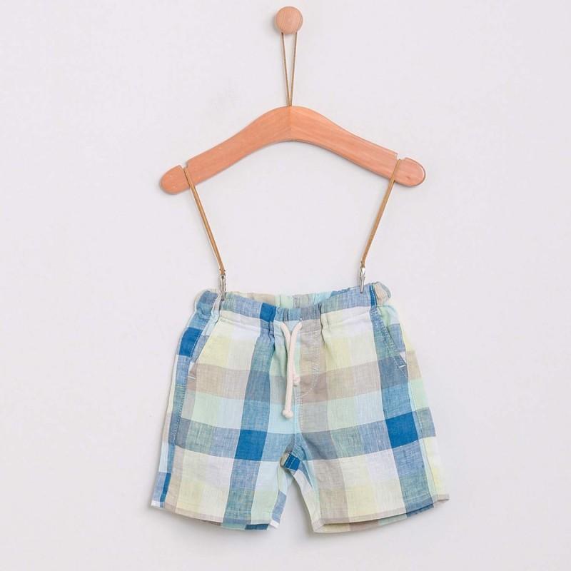 Checked Linen Shorts