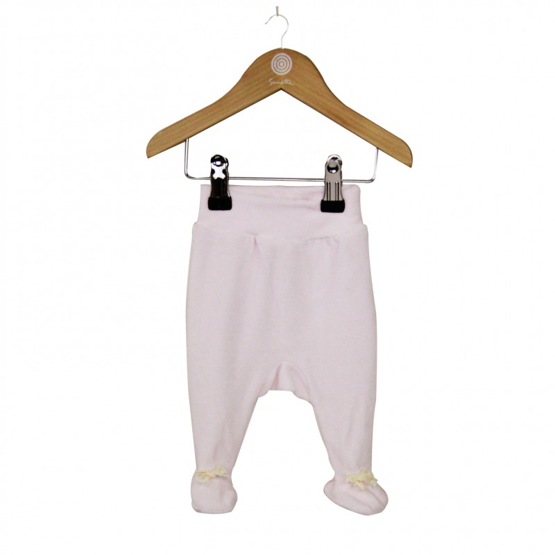 Velour Pink Baby Leggings with feet