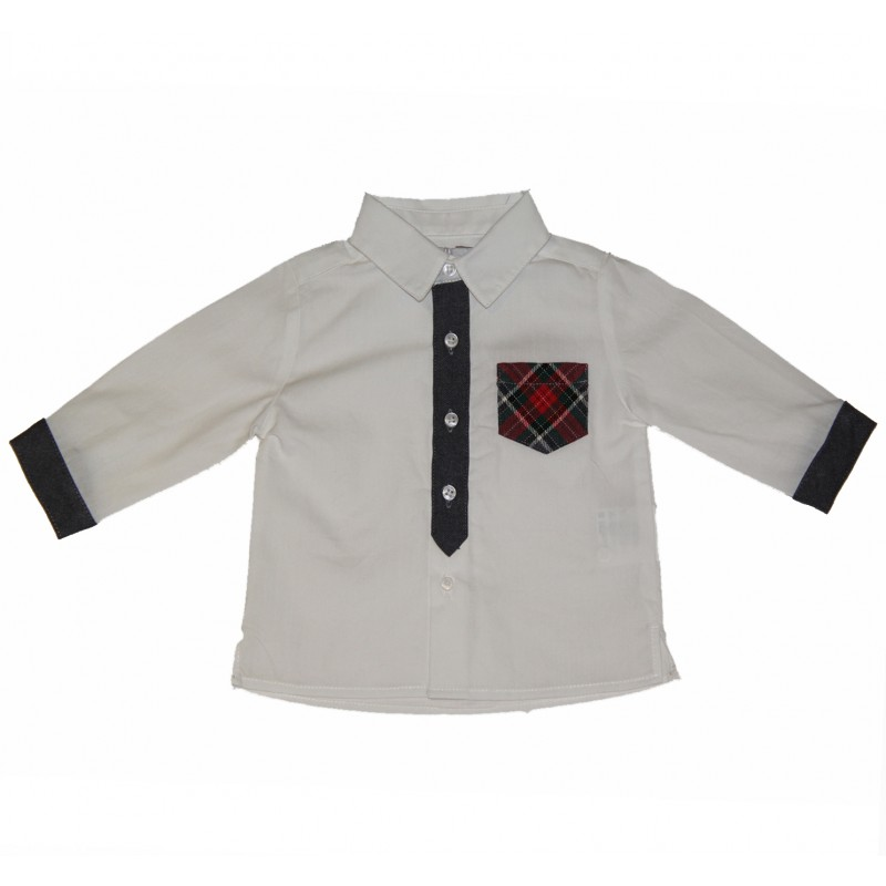 White Shirt with Tartan Pocket