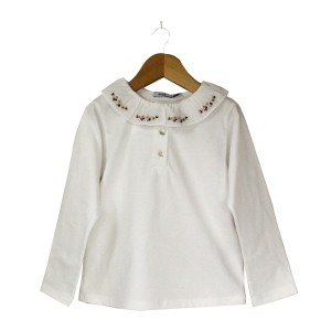 White Blouse with Flowered Collar