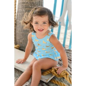 Snapper Rock Gold Horse Skirt Swimsuit
