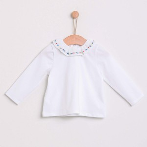 Long Sleeved Top with Embroidered Collar