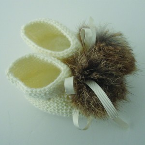 Hand Knitted Booties with Fur