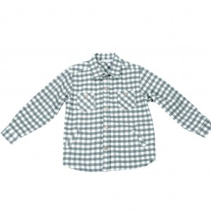 Boys Grey and White Checked Shirt
