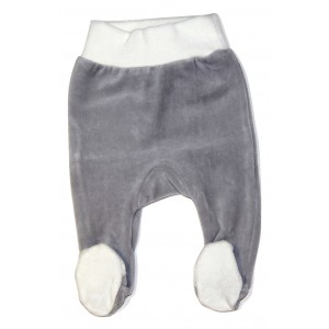 Velour Grey Baby Leggings