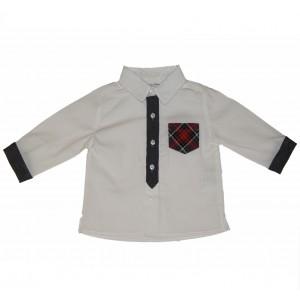 White Shirt with Tartan Pocket
