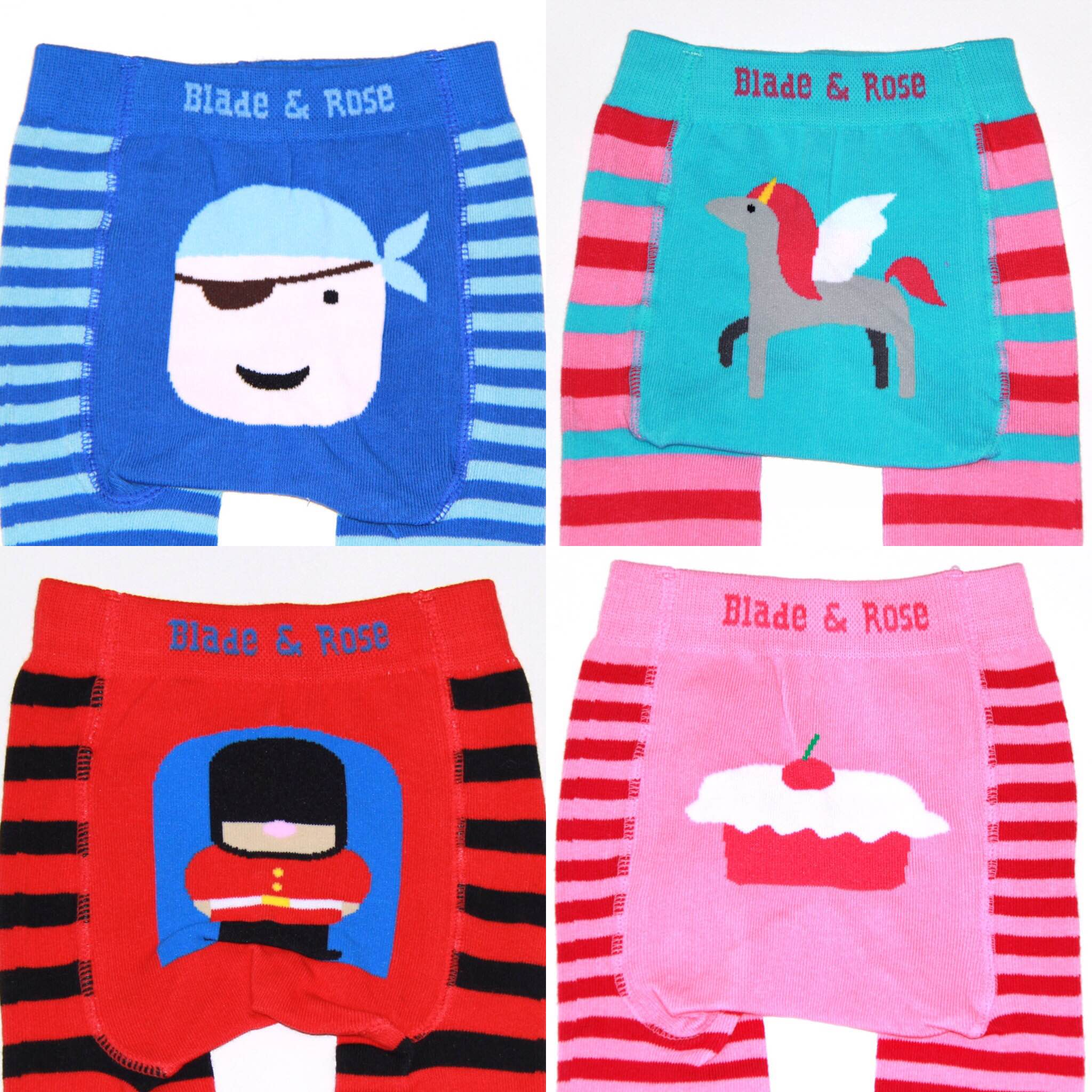Pirate, unicorn, beefeater and cupcake tights