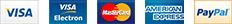 Visa, Visa Electron, Mastercard, American Express, PayPal